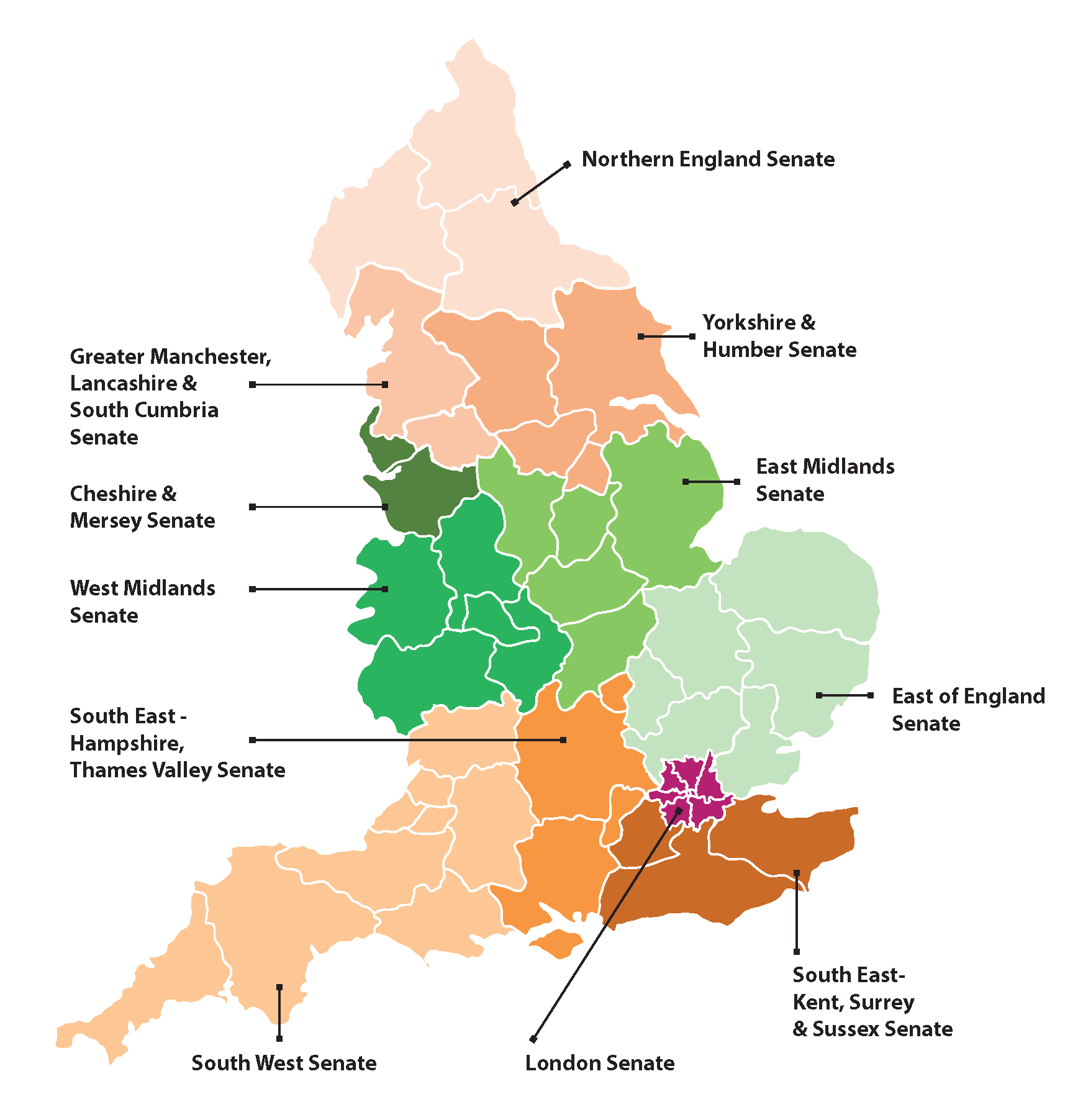 Map of Clinical Senates in England